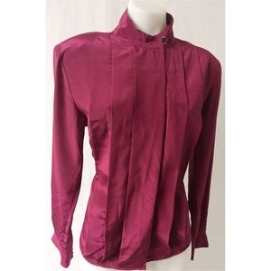 Burgundy Vintage Pleated Top Size 8